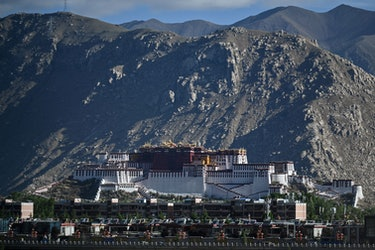 This photograph taken on June 2, 2021 during a government organised media tour shows the Potala Pala...