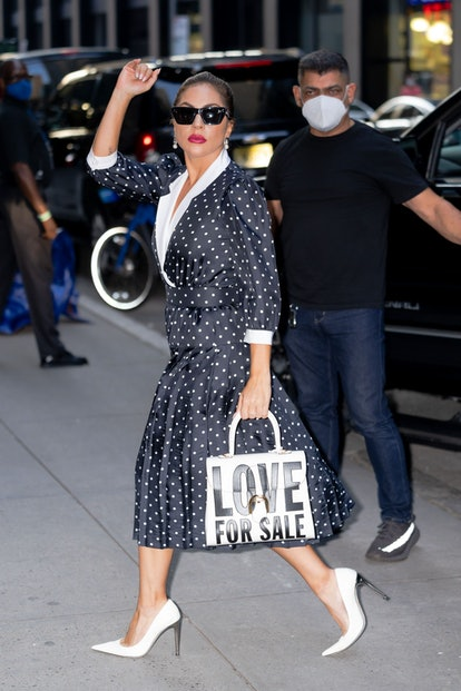 NEW YORK, NEW YORK - JULY 31: Lady Gaga is seen in Midtown on July 31, 2021 in New York City. (Photo...