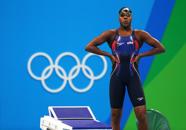 RIO DE JANEIRO, BRAZIL - AUGUST 10:  Simone Manuel of the United States looks on prior to competing ...