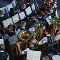 Styria, Austria -August, 13, 2021: Brass music holds a outdoor concert.  A traditional custom in Aus...