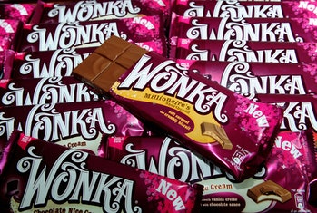 A selection of the new range of Nestle Wonka chocolate bars named after one of the world's most famo...