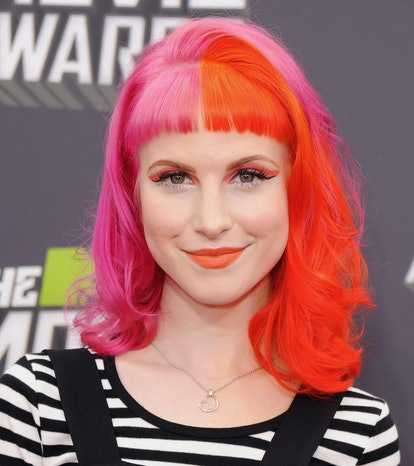 Hayley Williams of Paramore arrives at the 2013 MTV Movie Awards in 2013 with two-tone hair color.