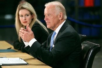 NEWARK, CALIFORNIA - JULY 23: Vice President Joe Biden, right, speaks as Elizabeth Holmes, founder a...