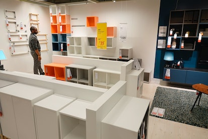 Fort Lauderdale, IKEA store, man shopping for storage shelves. (Photo by: Jeffrey Greenberg/Educatio...