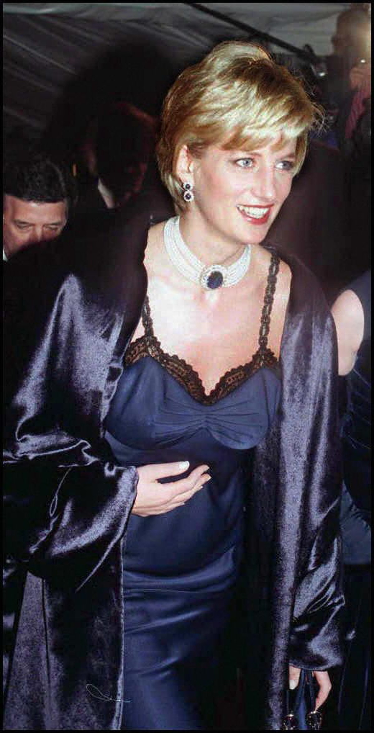 Diana, Princess of Wales wears Dior slip dress by John Galliano while arriving at the Metropolitan M...