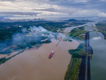 Beautiful aerial view of the Panama Canal and the Miraflores Locks