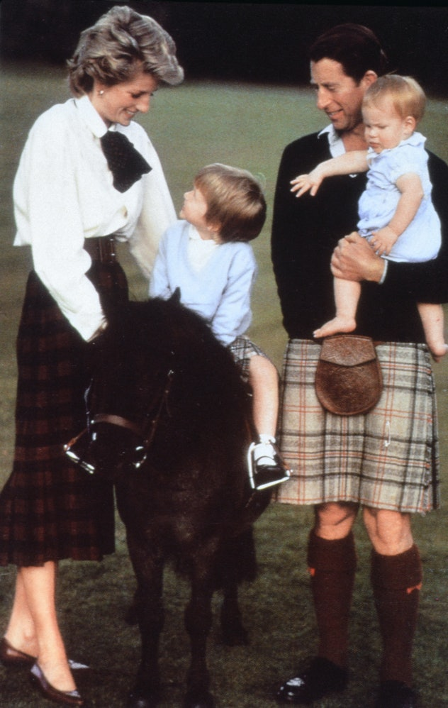 Princess Diana wore a long plaid skirt and white blouse for fall.