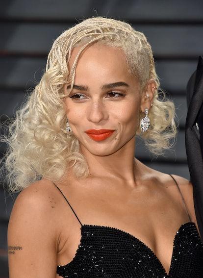 Zoe Kravitz went platinum blonde for the 2017 Vanity Fair Oscar Party.
