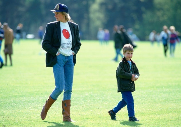 Princess Diana in a t-shirt, jeans, and blazer.