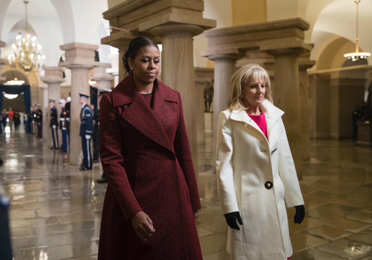 WASHINGTON, DC - JANUARY 20:  First lady Michelle Obama and Jill Biden arrive for President-elect Do...
