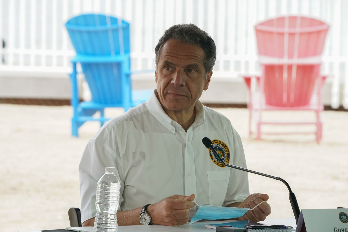 New York Governor Andrew Cuomo speaks at a press conference at the Theater at Jones Beach on May 24,...
