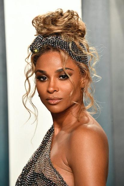 Ciara in a bronde updo at the 2020 Vanity Fair Oscar Party.