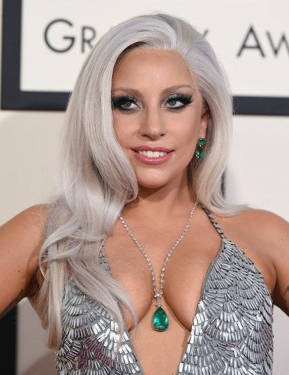 Lady Gaga goes silver at the 2015 Grammys.