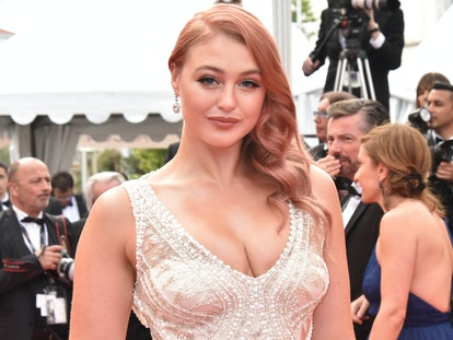 Iskra Lawrence sporting rose gold hair in Cannes.