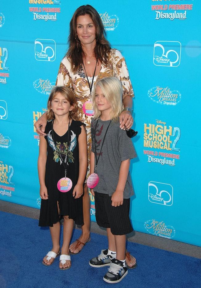 ANAHEIM, CA - AUGUST 14:  Kaya Gerber, moddel Cindy Crawford and Presley Gerber arrive at the premie...