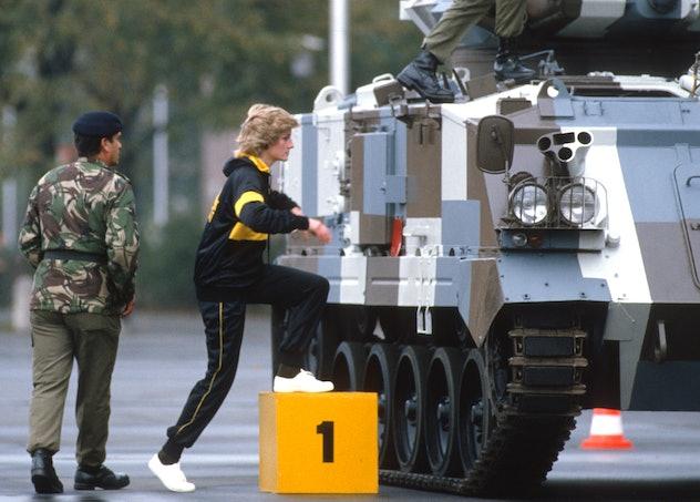 Princess Diana wears a running suit.