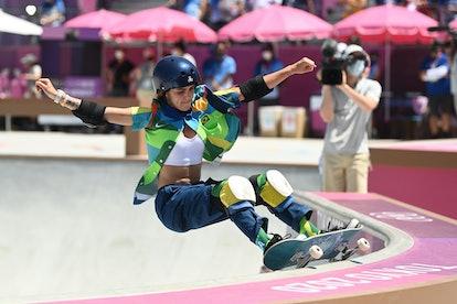 04 August 2021, Japan, Tokio: Skateboard: Olympics, Park, Women, Final, at Aomi Urban Sports Park. Y...