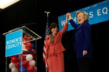"""Lieutenant Governor Kathy Hochul and former Secretary of State Hillary Clinton during a 2014 """"Women ..."""