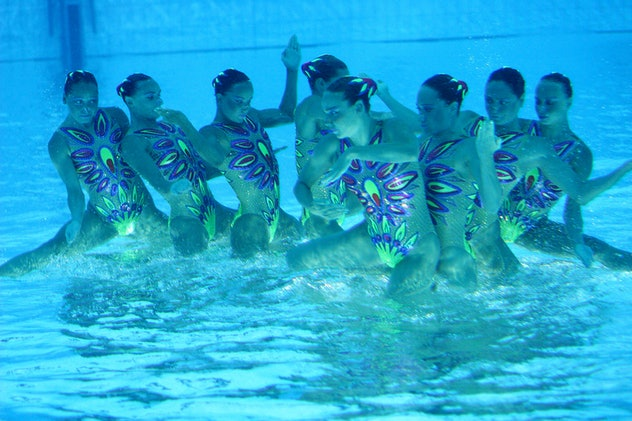 Japanese Team competes in the final of Free Routine Synchronised Swimming during the Athens 2004 Oly...
