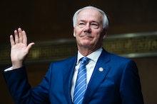 UNITED STATES - JUNE 22: Arkansas Gov. Asa Hutchinson, is sworn into the Senate Judiciary Committee ...