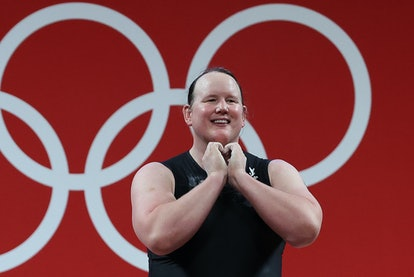 TOKYO, JAPAN - AUGUST 2, 2021: New Zealand's Laurel Hubbard competes in the women's +87kg group A fi...