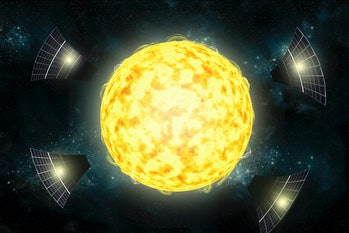 An artists illustration of the possible structures surrounding the star KIC 8462852. The Kepler obse...