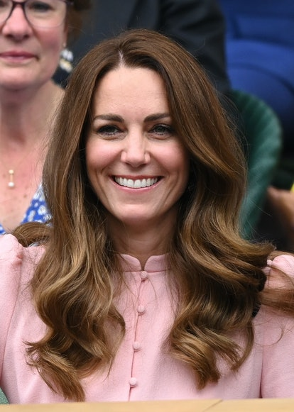 LONDON, ENGLAND - JULY 11: Catherine, Duchess of Cambridge attends day 13 of the Wimbledon Tennis Ch...