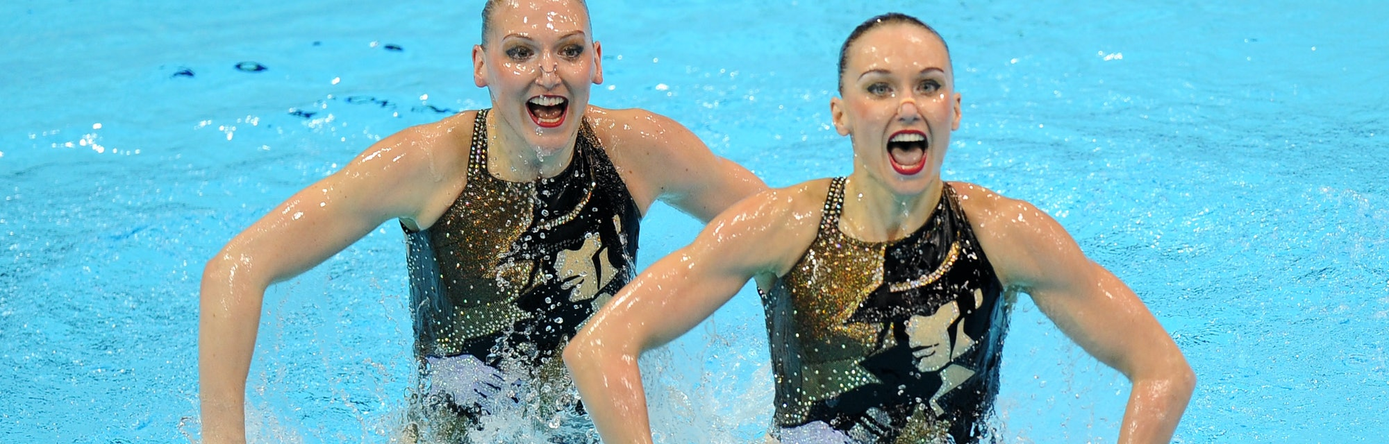Russia's Natalia Ischenko and Svetlana Romashina in action in the Duets Technical Routine   (Photo b...