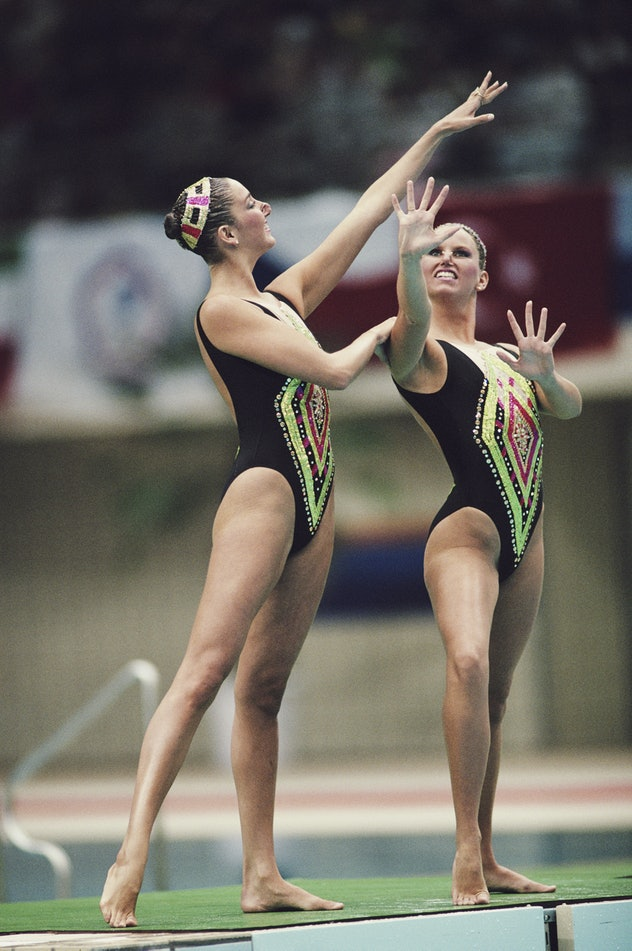Gold medallists Michelle Cameron and Carolyn Waldo of Canada during the Women's Duet Synchronised sw...