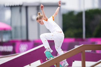 TOKYO, JAPAN - JULY 26: Roos Zwetsloot of Netherlands competes during the Women's Street Skateboardi...