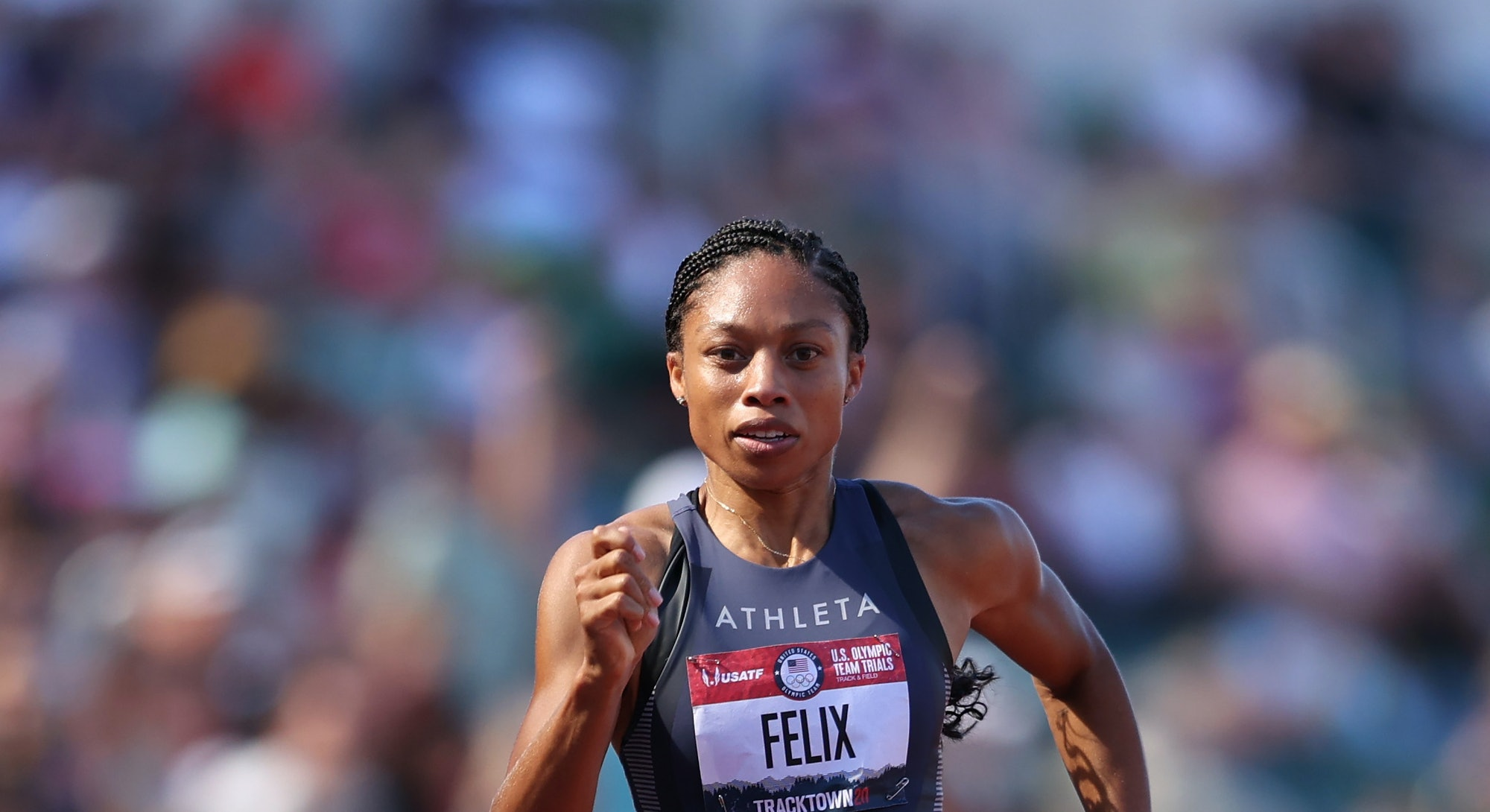 EUGENE, OREGON - JUNE 25: Allyson Felix competes in the Women' 200 Meters Semi-Finals during day eig...