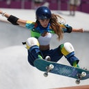 Yndiara Asp of Brazil competes during women's park final of skateboarding at the Tokyo 2020 Olympic ...