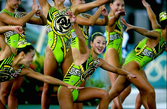 30 Jul 1996: The Japanese synchronized swimming team at the Georgia Tech Aquatic Center at the 1996 ...