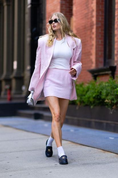 NEW YORK, NEW YORK - JUNE 20: Elsa Hosk is seen in Tribeca on June 20, 2021 in New York City. (Photo...