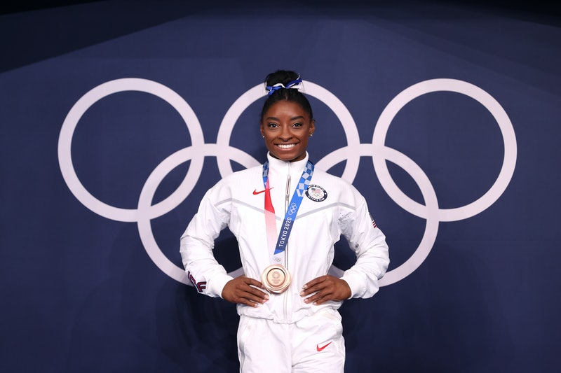 Simone Biles' aunt died during the Olympics, the gymnast revealed. (Photo by Laurence Griffiths/Gett...