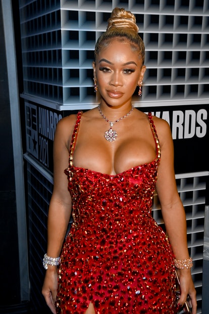 LOS ANGELES, CALIFORNIA - JUNE 27: Saweetie attends the BET Awards 2021 at Microsoft Theater on June...