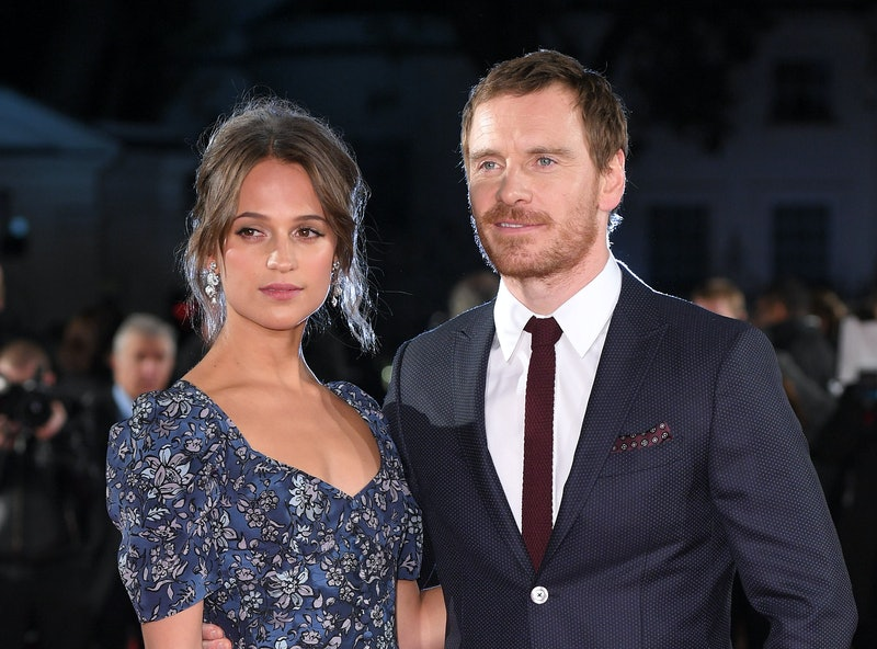 LONDON, ENGLAND - OCTOBER 19:  Alicia Vikander and Michael Fassbender arrive for the UK premiere of ...