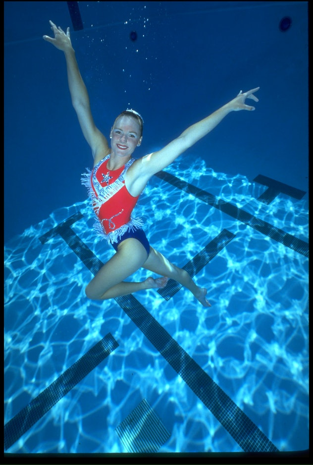 Apr 1992: Kristen Bobb-Sprague of the USA during the USA synchronized swimming olympic trials. Manda...
