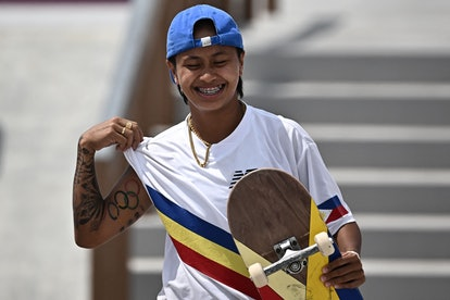 Philippines' Margielyn Arda Didal reacts after competing in the skateboarding women's street final o...
