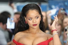 """LONDON, ENGLAND - JULY 24:  Rihanna attends the """"Valerian And The City Of A Thousand Planets"""" Europe..."""