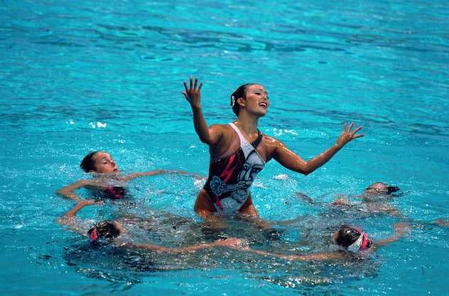 29 Sep 2000: The USA Syncronized Swimming Team perform the free routine during the 2000 Olympics at ...