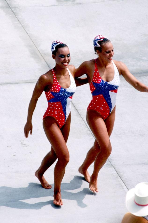 (L-R) USA's Tracie Ruiz and Candy Costie celebrate winning gold (Ruiz also won gold in the solo even...