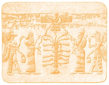 Illustration of the Tree of Life with Assyrian King and with winged creature as guardian and fertili...