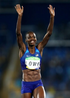 RIO DE JANEIRO, BRAZIL - AUGUST 20:  Chaunte Lowe of the United States  reacts as she competes in th...