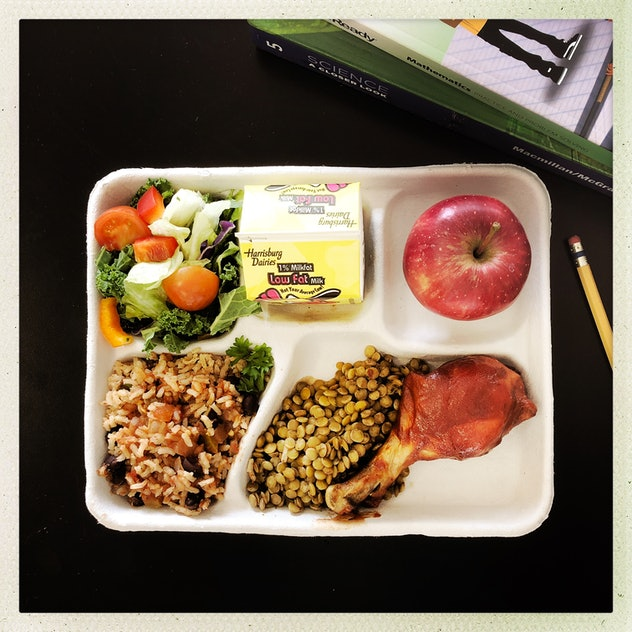 WASHINGTON, DC - JANUARY 30: BBQ chicken drumstick with spanish rice, jerk lentils, garden bar, appl...