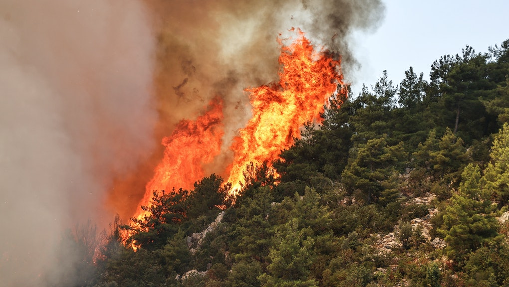 ANTALYA, TURKEY - AUGUST 05: Flames rise after a forest fire broke out in Gundogmus district as grou...