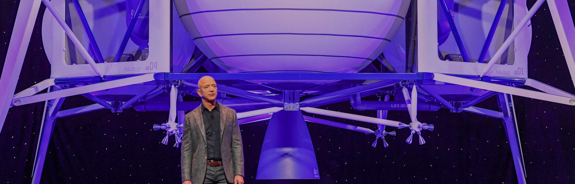 WASHINGTON, DC - MAY 9:  Jeff Bezos, founder of Amazon, Blue Origin and owner of The Washington Post...