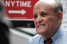 NEW YORK, NEW YORK - JUNE 21: Former New York City Mayor Rudy Giuliani makes an appearance in suppor...