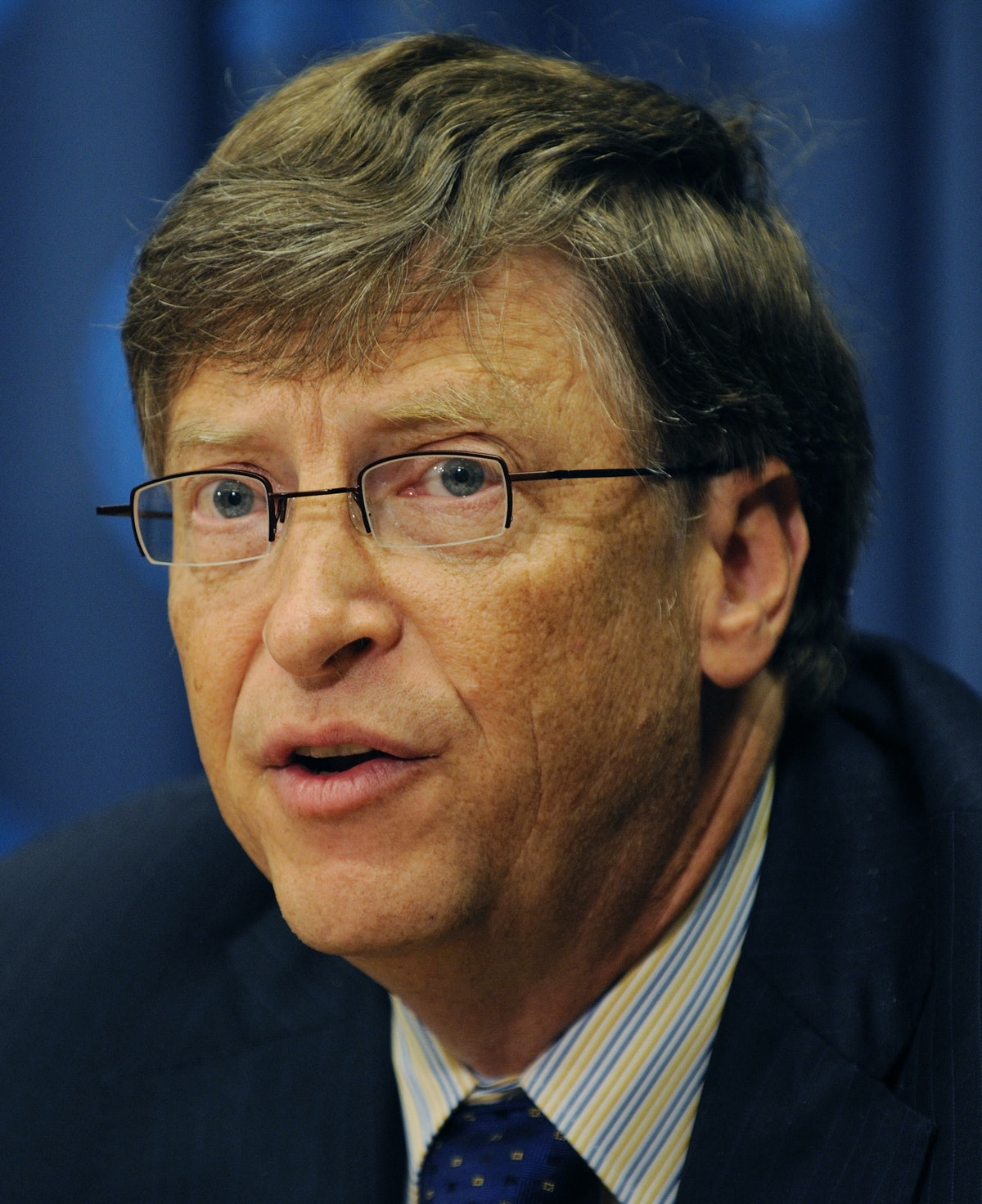 Bill Gates, Chairman of the Bill & Melinda Gates Foundation,speaks during a news conference on the G...