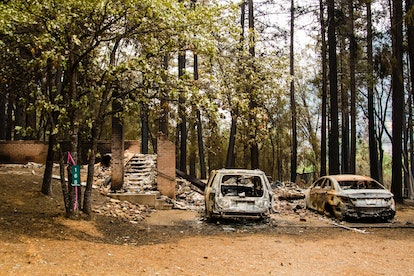 CALIFORNIA, UNITED STATES - 2021/07/31: Aftermath of the Dixie fire after it burned through a small ...